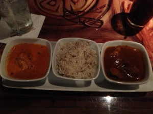 I had the Butter Chicken and the Spicy Durban Chicken.