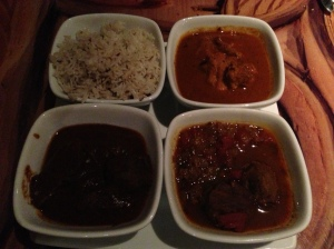 Top Right: Durban Chicken, Bottom Left: Beef Short Rib, Bottom Right: Lamb Vindaloo