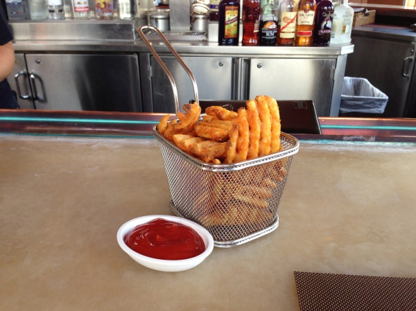 The waffle fries were so crispy and good, we had to order a side.  I just LOVE the presentation!
