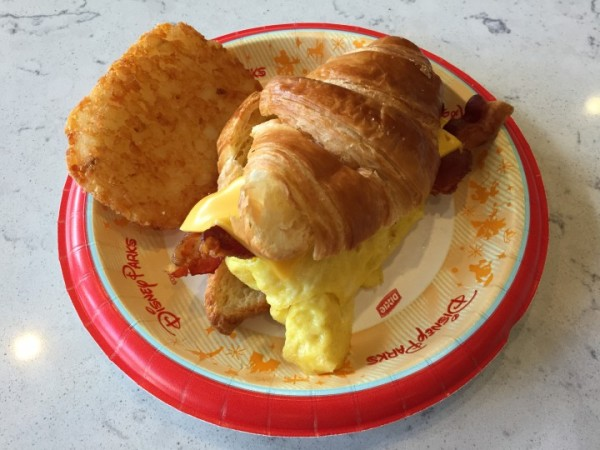 I decided to enjoy the Croissant Sandwich. It was a bit dry, to be truthful. The hash brown was a side purchased separately.